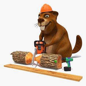 3D Cartoon Beaver with Tools Set Rigged