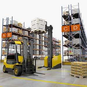 3D model Warehouse Palletes And Forklifts
