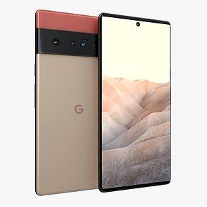 3D Google Pixel 6 Red model