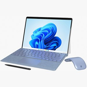 3D Microsoft Surface Pro 8  with Signature Type Covers  Arch Mouse  Pen All Colors model