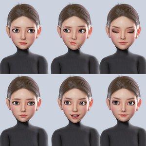 3D Cartoon Girl Woman rigged model