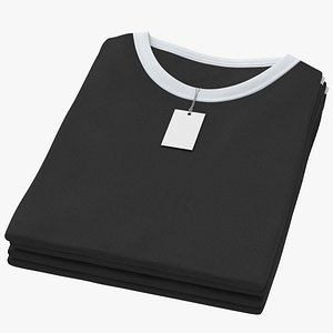 3D Female Crew Neck Folded Stacked With Tag White and Black 02 model