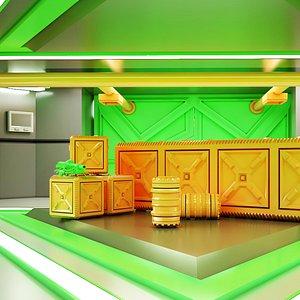 3D Sci-fi Corridor 05 HI-RES model