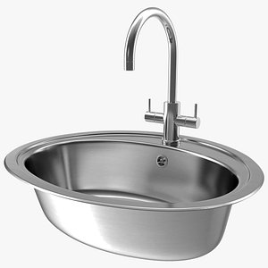3D Oval Single Kitchen Sink with Tap model