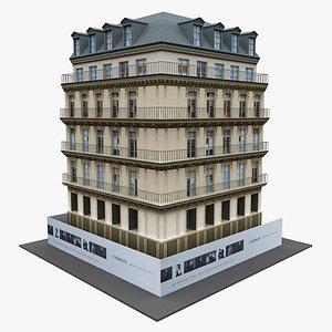 3D Typical Parisian Corner Building model