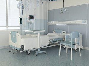 Hospital ward, modern hospital ward, advanced ward, bed care room inpatient department 3D model