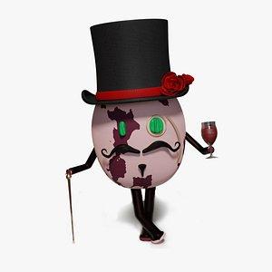 3D model aristocrat cartoon character