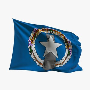 3D Realistic Animated Flag - Microtexture Rigged - Put your own texture - Def  Nothern Mariana Islands