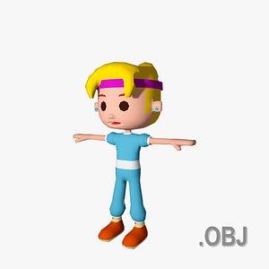 Girl White Blonde - OBJ - Low Poly Quad 3D model