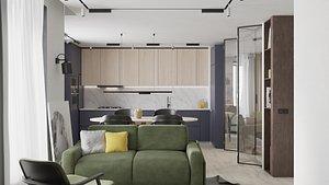 Modern apartment interior 50 sqm 0003 3D model