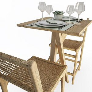 3D Wood And Rope Table And Stool Set AtelierS