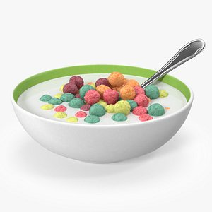 Colorful Cereal Balls in Bowl with Milk 3D