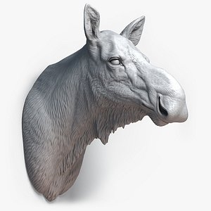 moose animal head sculpture 3D model