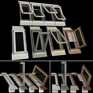 3D model roof windows mansard