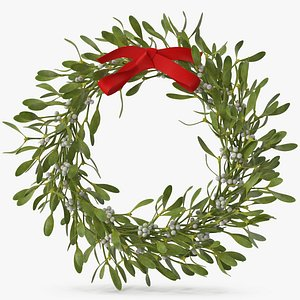 Mistletoe Wreath with Red Bow 2 3D model