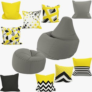 Bean Bag Chairs and Pillows Collection V2 3D model