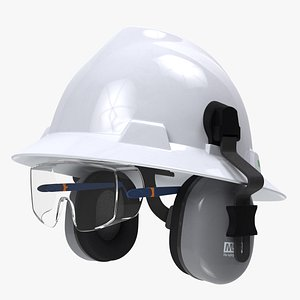 3D Safety Helmet with Earmuffs and Glasses model