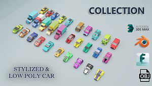 3D stylized low poly car collection