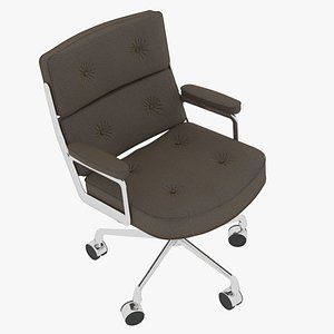 3D Eames Executive Chair Chrome Frame Taupe Fabric