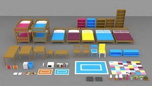Simple house interiors  pack 3D