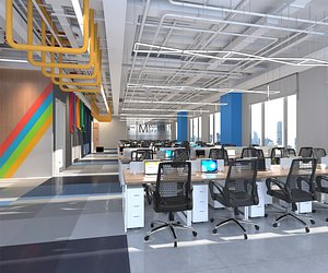 3D model Office Office Large office Office hall Office roaming Modern office manager office booth Employee