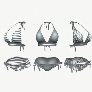 Gray Bikini Swimsuit - 3 colors 3D model