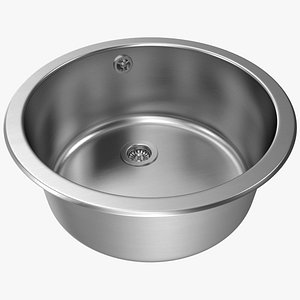 Round Inset Stainless Steel Sink 3D