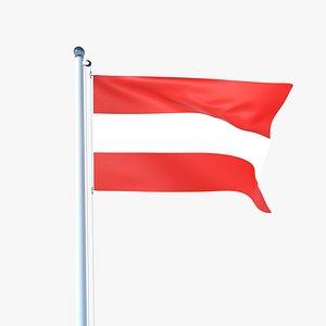 3D model Animated Flag of Austria