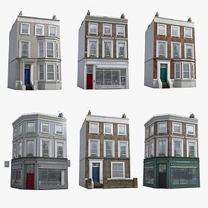 3D 6 London Townhouses Collection