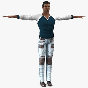 3D skin city style man model