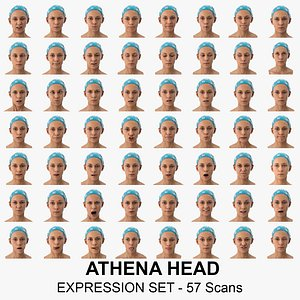 Athena Clean Scans Full Expression Set - 57 poses Collection 3D model
