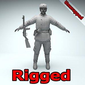 Soviet soldier WW2 RIGGED 3D