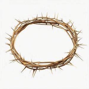 3D Crown of thorns metal gold model
