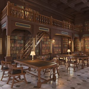 classic old library 3D model