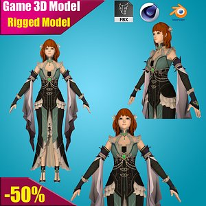 warrior girl 3D model