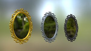 Collection of Oval Mirror Frames 3D model