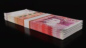 3D money stack - modelled model