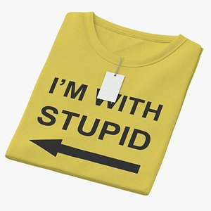 3D Female Crew Neck Folded With Tag Yellow Im With Stupid 02 model