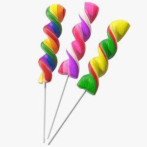3D Colorful Twist Lollipop Stick Set