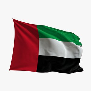3D Realistic Animated Flag - Microtexture Rigged - Put your own texture - Def United Arab Emirates