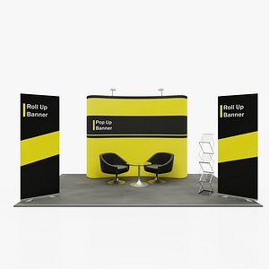 3D Pop Up\RollUP Stands. Trade show booth mock-up model