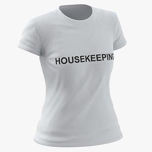 Female Crew Neck Worn White Housekeeping 02