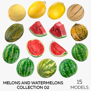 3D Melons and Watermelons Collection 02 - 15 models model