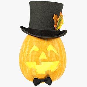 3D Halloween Pumpkin with Hat V5 model