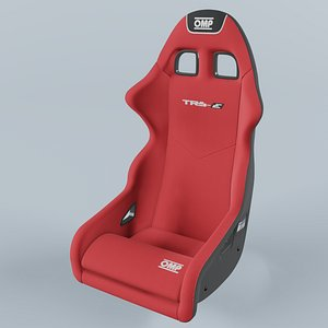 OMP TRS-E Racing Red Seat 3D model