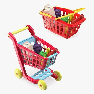 3D Children Shopping Baskets with Food Toys Collection