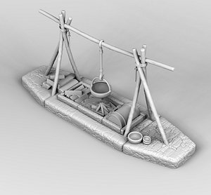 3D model medieval campfire