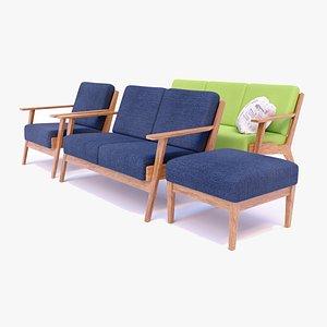 set modern sofa 3D model