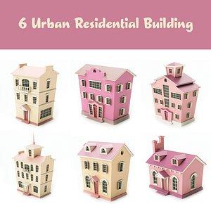 3D 6 custom buildings 01 model