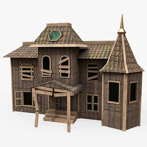3D Game Ready Low Poly House 2 model
